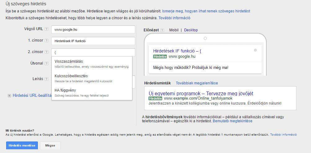 Google Ads IF funkció