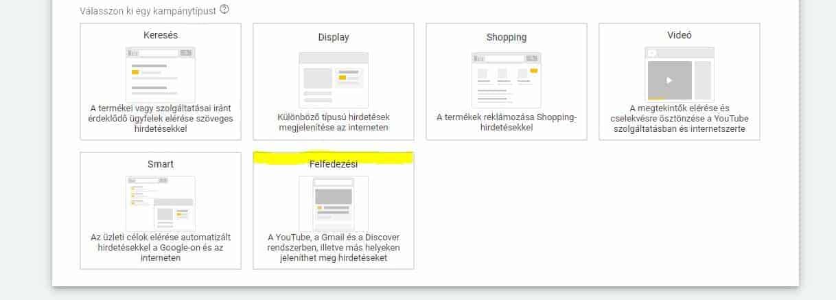 Google discovery ad kampány kiválasztása az Adwords fiókban