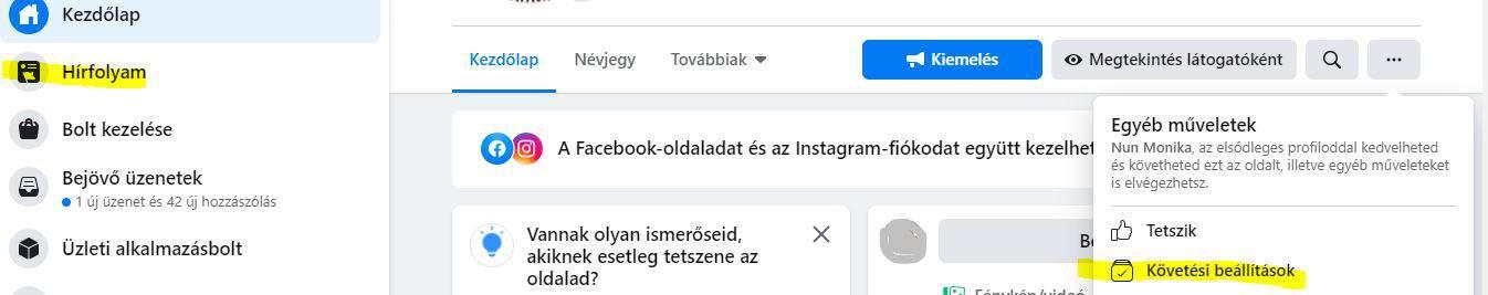 Facebook hírcsatorna beállítása